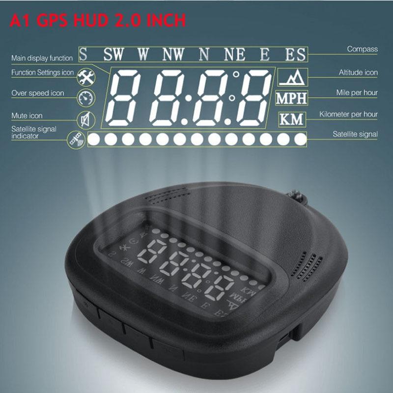A1 GPS HUD Car Electronic GPS Car Hud Head Up Display Car Alarm System Universal Overspeed Alarm iCarmo Digital Car Speedometer