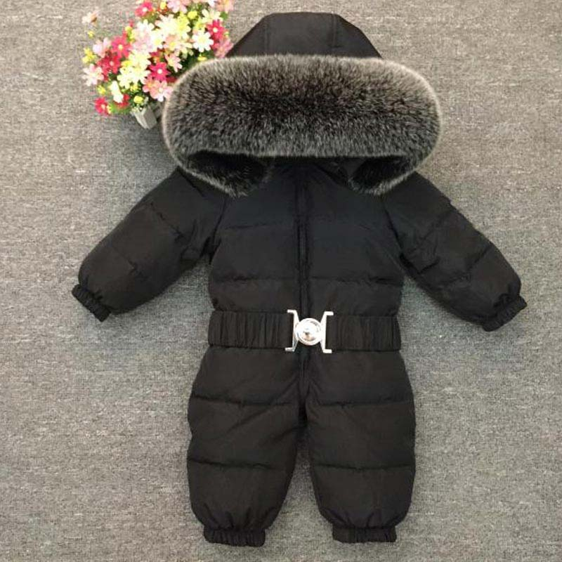 Winter sets Baby Gril Boy Down Thick Rompers Children Wadded Jacket Nature Fox Fur Jumpsuits Newborn SnowSuit Enfant Overalls russia winter baby grils boys down thick rompers children wadded jacket kids cotton padded fleece fur jumpsuits newborn overalls