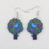 Bonsny drop earrings colorful tree new 2014 cute lovely printing acrylic design summer style for girls woman jewelry