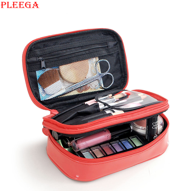 PLEEGA Women Cosmetic Bags Portable Patent Leather Waterproof Make Up Bag Travel Makeup Case Beauty Box Toiletry Organizer Bags