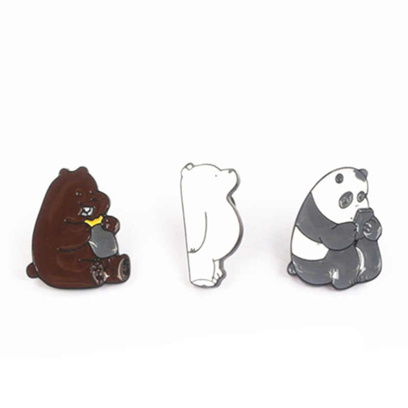 Animal Dos Desenhos Animados Pin Nua Grizzly Bears Bonito Panda Urso de Gelo Denim Pinos Esmalte Broches Emblemas de Lapela Moda Presentes Kawaii