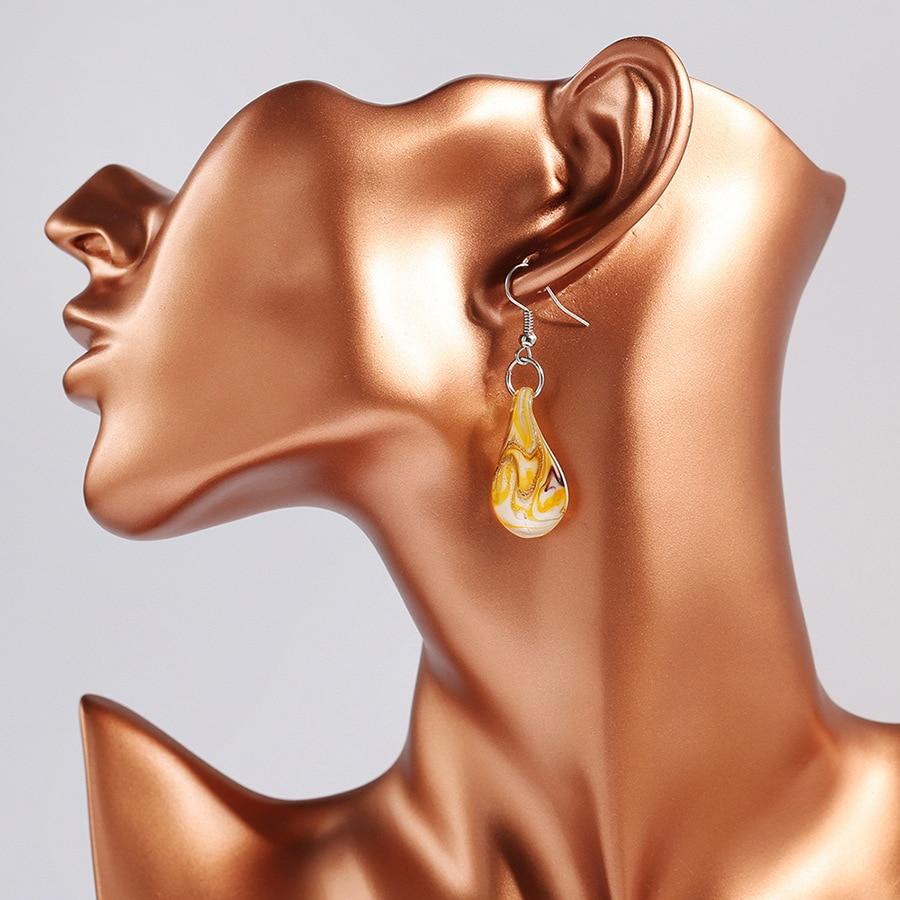 Fashion Coloured Glaze Fill Pattern Waterdrop Drop Earrings Big Ethnic Murano Glass Pendant Dangle Earrings for Women Jewelry in Drop Earrings from Jewelry Accessories