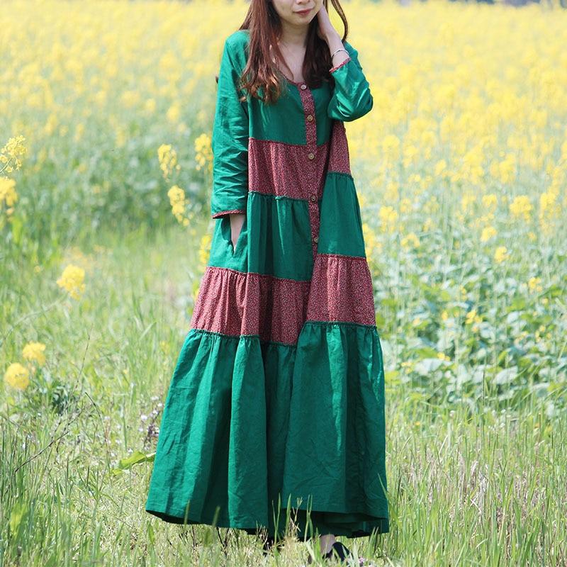 LZJN 2019 été automne longue bohème Robe coton lin femmes Floral chemise Robe Maxi Rockabilly Patchwork rouge Boho Robe Femme