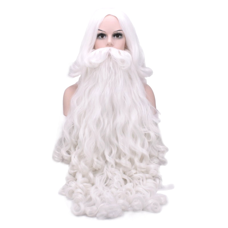 Christmas Gift Santa Claus Wig And Beard Synthetic Hair Short Cosplay Wigs For Men White Hairpiece Accessories Santa Beard 70cm