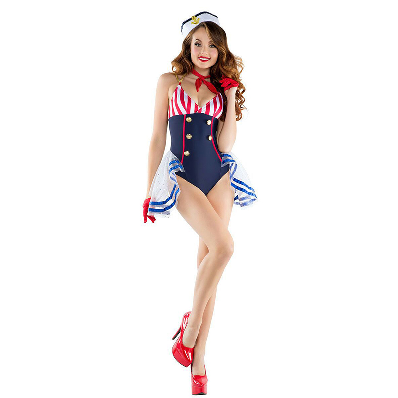 2019 New Women Sex Dress Europe Navy Cosplay Costume Blue Navy Halloween Performance Uniforms Fancy Cosplay Costumes