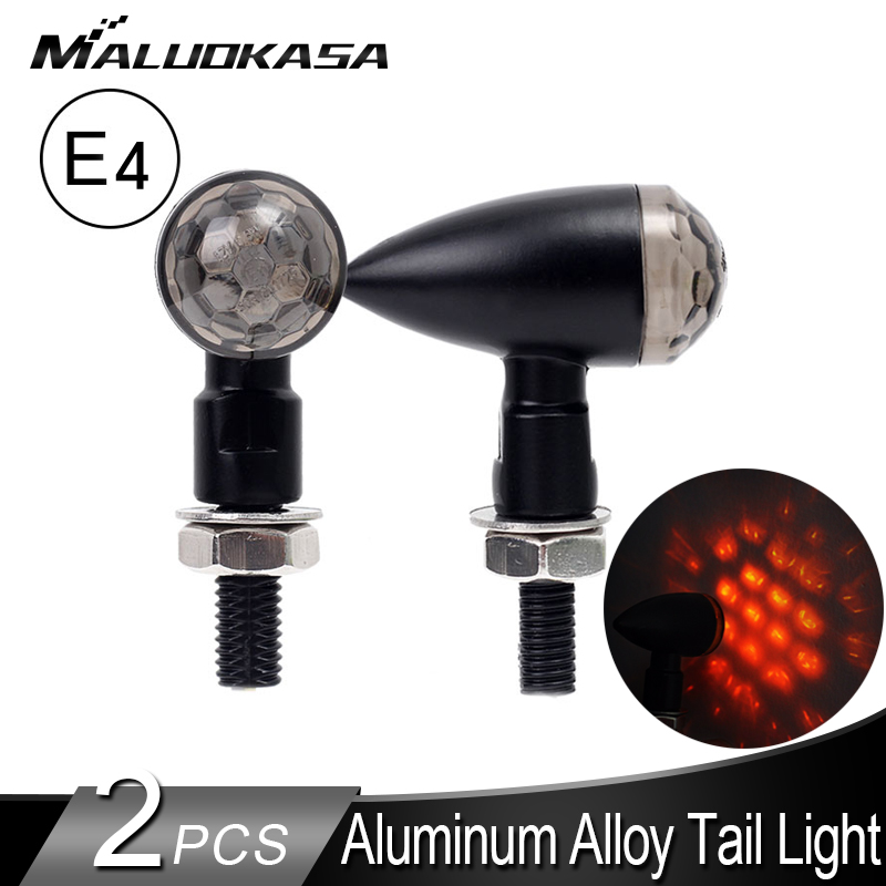 2PCS Mini Turn Signals For Motorcycles E11 Stop Signal Lights LED Blinker Tail Lamp Fully Aluminum Tail Stop Indicator 12V IP67
