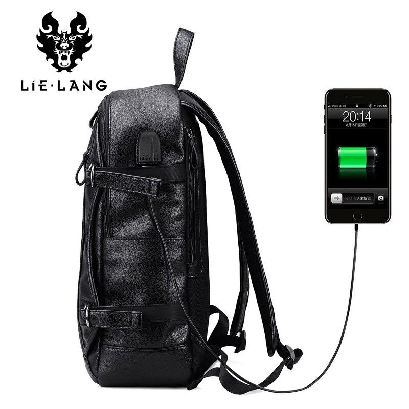 LIELANG cuir sac à dos hommes USB Charge sac à dos Anti-vol étanche ordinateur portable mâle mode sacs à dos pour Teenger PU sacs d'école - 2