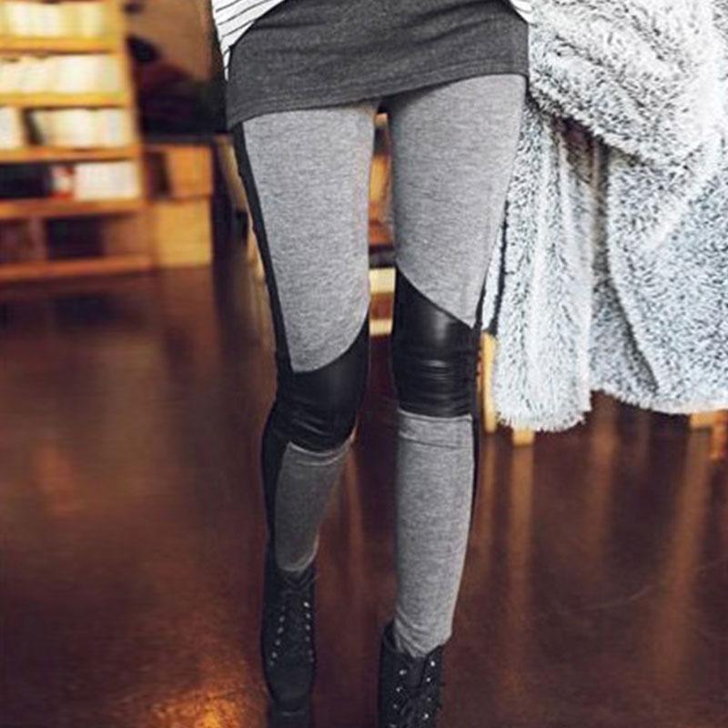 Free Shipping Fashion Stylish Women Lady Sweet Sexy PU Leather Skinny Warm Stretchy Elastic Slim Fit Grey Long Full Leggings