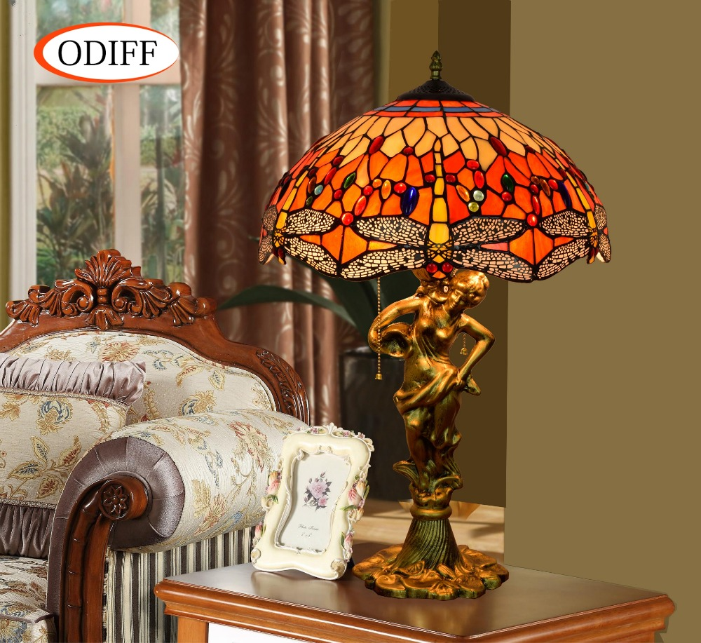 ODIFF European luxury creative garden Stained glass living room Dragonfly Table Lamps Ba ...