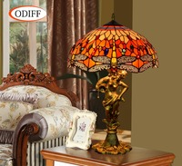 ODIFF European luxury creative garden Stained glass living room Dragonfly Table Lamps Bar bedroom office Hote art lamp 90 260V