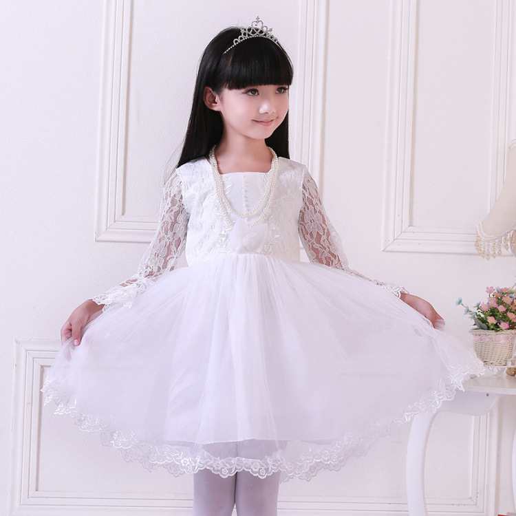 White Lace Girls Princess Children Dance Costume Flower Dress Kids Clothing White Red