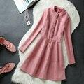Европа Станция 2017 Новая зимняя женская небольшой ароматный ветер однобортный Тонкий замши высокого качества с длинными рукавами dress теплый