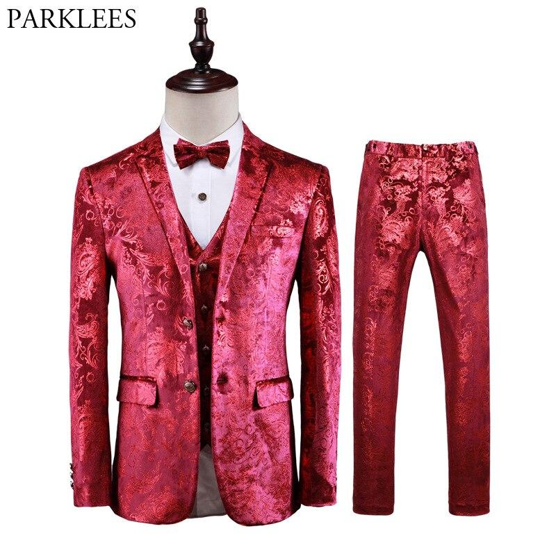 Роскошный красный цветочный стимпанк костюм из 3 предметов с узором пейсли, мужские костюмы на свадьбу, выпускной, с брюками, мужской облегающий сценический костюм, Homme