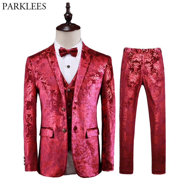 Luxury Red Paisley Floral Steampunk 3 Piece Suit Set Men Wedding Prom Dress Suits With Pants Mens Slim Fit Stage Costume Homme
