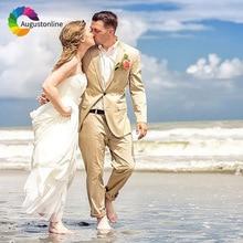 Khaki Beach Wedding Suits for Men Groom Tuxedos 2 Pieces (Jacket+Pants) Slim Fit Bridegroom Best Man Blazer Costume Homme Ternos