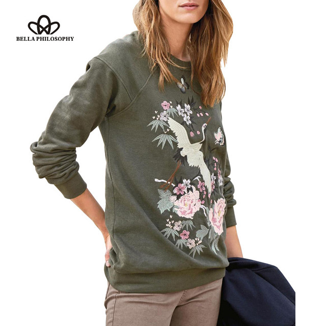 Bella Philosophy 2017 spring Fashion O-Neck long sleeve Cranes embroidery plus velvet hoodies