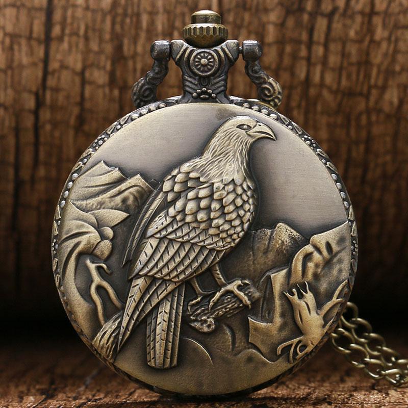 Antique Bronze Clock Awesome Standing Eagle Quarzt Pocket Watch With Necklace Chain Man Women Watches Relogio De Bolso Antigo