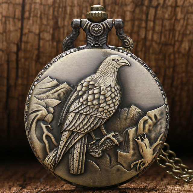 Antique Bronze Clock Awesome Standing Eagle Quarzt Pocket Watch With Necklace Ch