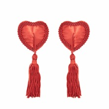 Women Heart Shape Nipple Cover Sexy Pasties Reusable Stickers Tassels Breast Petals Bra Accessories