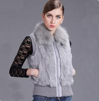 ZDFURS * Free Shipping New Genuine Rabbit Fur Vest fox fur collar Women's Rabbit Fur Waistcoats Winter Fur Jacket
