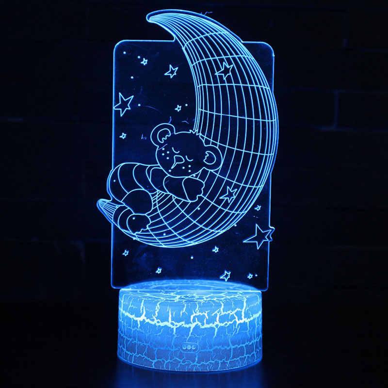 Mặt trăng gấu chủ đề 3D Đèn LED ánh sáng ban đêm 7 Màu Sắc Thay Đổi Cảm Ứng Tâm Trạng Đèn Giáng Sinh hiện tại Dropshippping