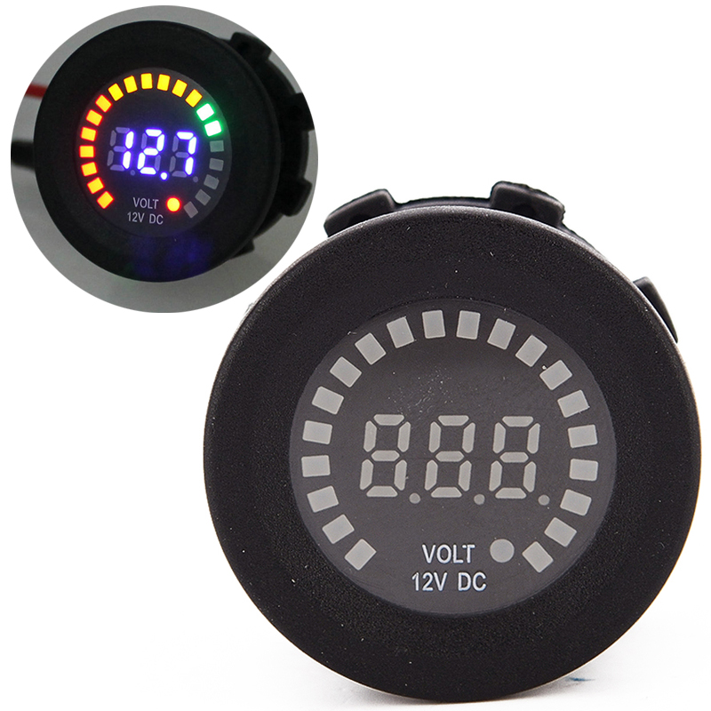 1pc Motorcycle Colorful LED Voltage Gague High Quality Meter Digital Display Car Boat Voltmeter Guages for Motorcycle Instrument