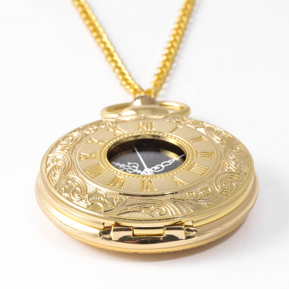 0  New Gold Classic Rome Queen Shi Ying Pocket Watch Retro Necklace Pocket Watch Gifts For Men And Women
