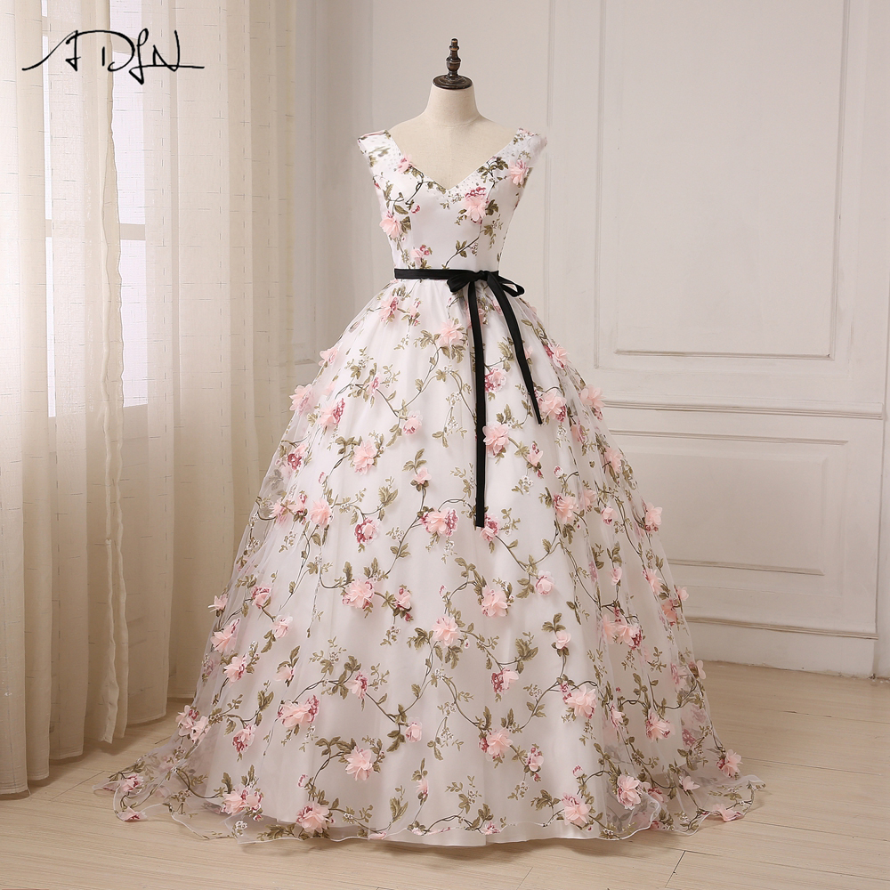 ADLN Princess   Prom     Dresses   2017 Robes De Soiree Long Cap Sleeve V-neck Floor Length A-line Formal Evening Gowns Custom Made