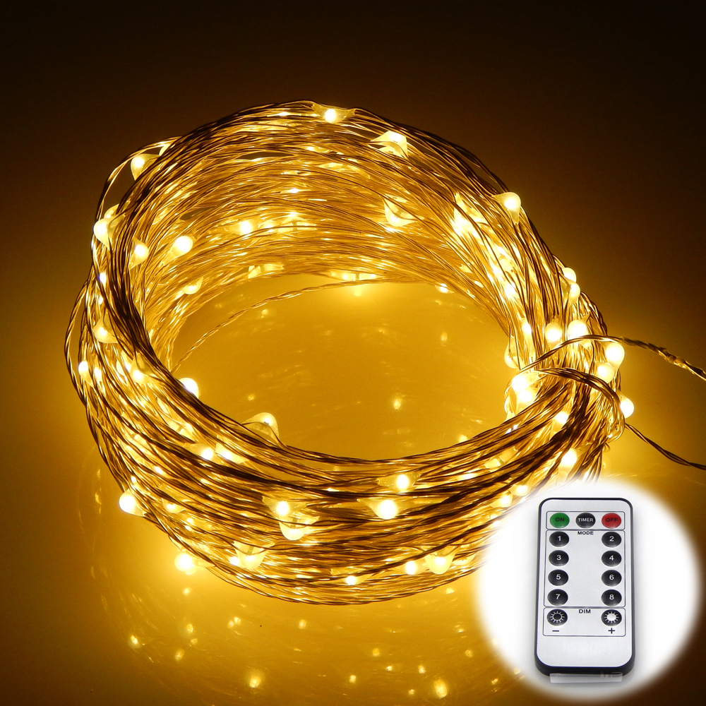 Wasserdicht 8 Modi Silber Draht Batterie Betrieben 20 Mt 200 LEDs ...