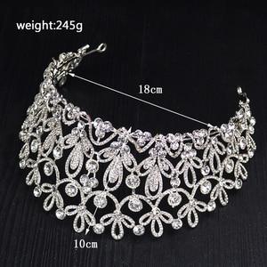 Image 3 - Ctrstal Tiaras grandes de cristal de lujo, Color dorado y plateado, diademas con diamantes de imitación, accesorios barrocas para el cabello de boda, HG 036