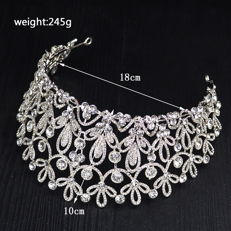 Image 3 - New Gold Silver Color luxury Big Crystal Tiaras Ctrstal Rhinestone Pageant Crowns Baroque Wedding Hair Accessories HG 036-in Hair Jewelry from Jewelry & Accessories