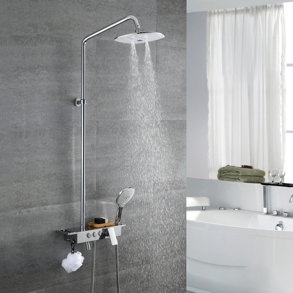 What Paint Finish For Bathroom Walls: HIDEEP Shower Set Shower Rainfall Bathroom Shower Set With