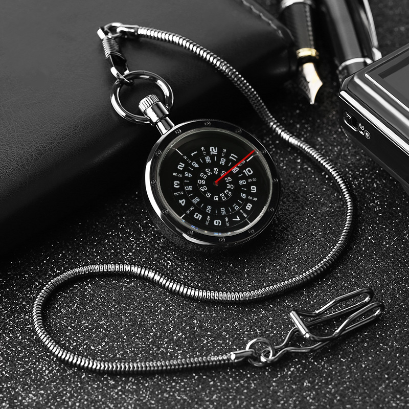 Vintage Black Turntable Numbers Display Pocket Watch Fob Chain New Fashion Quartz Pendant Clock Gifts For Men Women Reloj