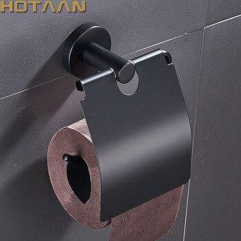 Envío Gratis, caja de papel de acabado negro mate de acero inoxidable, soporte de papel higiénico, soporte de papel, accesorios de baño YT-10992-H