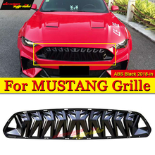 Fits For Ford Mustang grill grille ABS glossy black 1:1 Replacement For Mustang Front Bumper Kidney Racing Grills Front Mesh 18+ цена