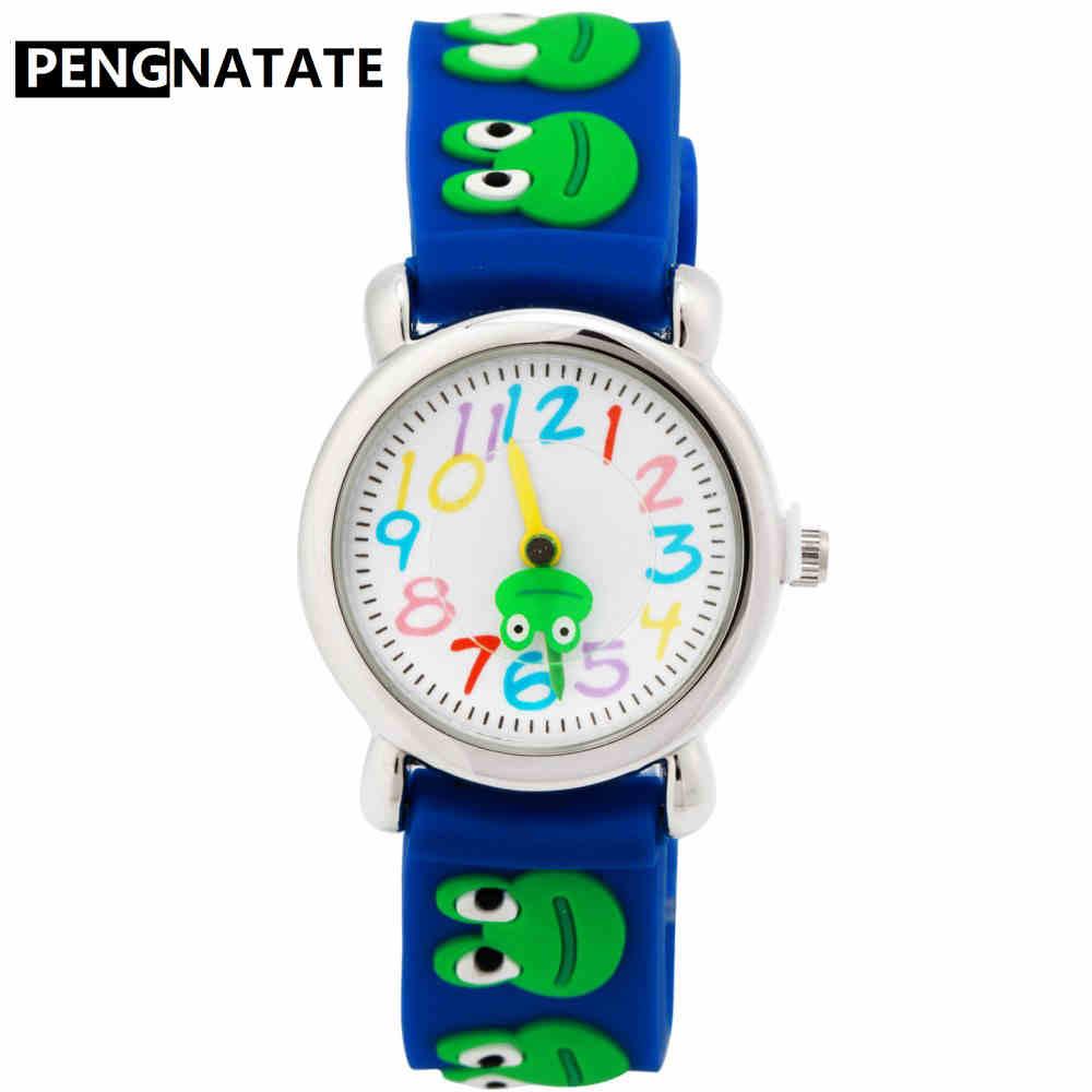 PENGNATATE Fashion Kids Watches Boy And Girl Cartoon 3D Frog Strap Silicone Wristwatch Student Children Quartz Watch Gift Clocks