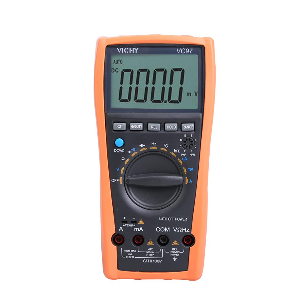 LCD Digital Multimeter VC97 3 3/4 Auto Range Protection Multimeter Voltmeter Ammeter Temp Ohm Electrical Tester Diode Detector vc201vc202vc203 pocket digital multimeter full protection of digital multimeter
