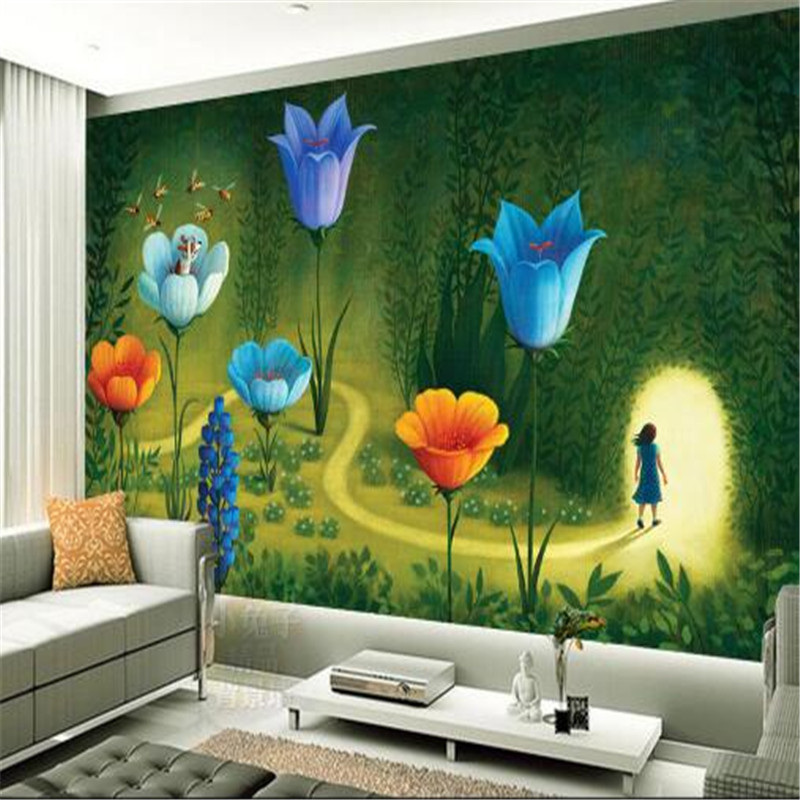 cartoon wallpapers hand painted murals wallpaper for kids room color rh aliexpress com Product Hand Painted Furniture Paint Wall Mural