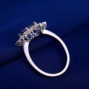 Image 5 - Naturale AAA Tanzanite Anelli 18K Oro Bianco Rotondo 7 millimetri Diamante Naturale Tanzanite Anello di Tanzanite Gioielli WU271