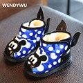 WENDYWU 2017 niños botas para la nieve bebé mikey botas de felpa zapatos de charol impermeable dot baby girls arranque size11.5cm-13.5 cm