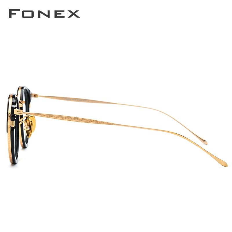 FONEX B titane lunettes optiques cadre hommes Vintage rond Prescription lunettes femmes rétro myopie acétate lunettes lunettes - 3