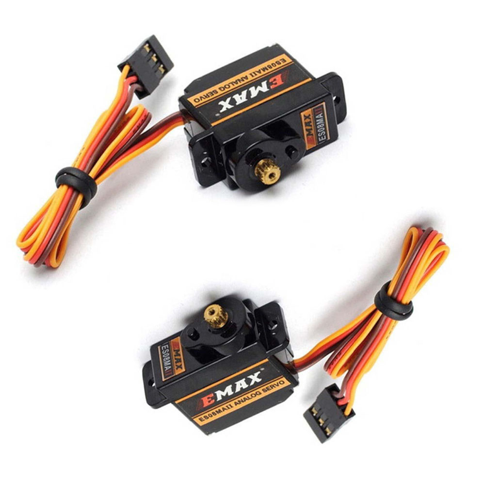 2Pcs EMAX ES08MA II Mini Metal Gear Analog Servo Digital Micro Steering Servos Gear 4.8-6V 200mA for 450 RC Helicopters 1pc original emax es08ma ii mini metal gear analog servo 12g 1 8kg high speed upgrade es08ma