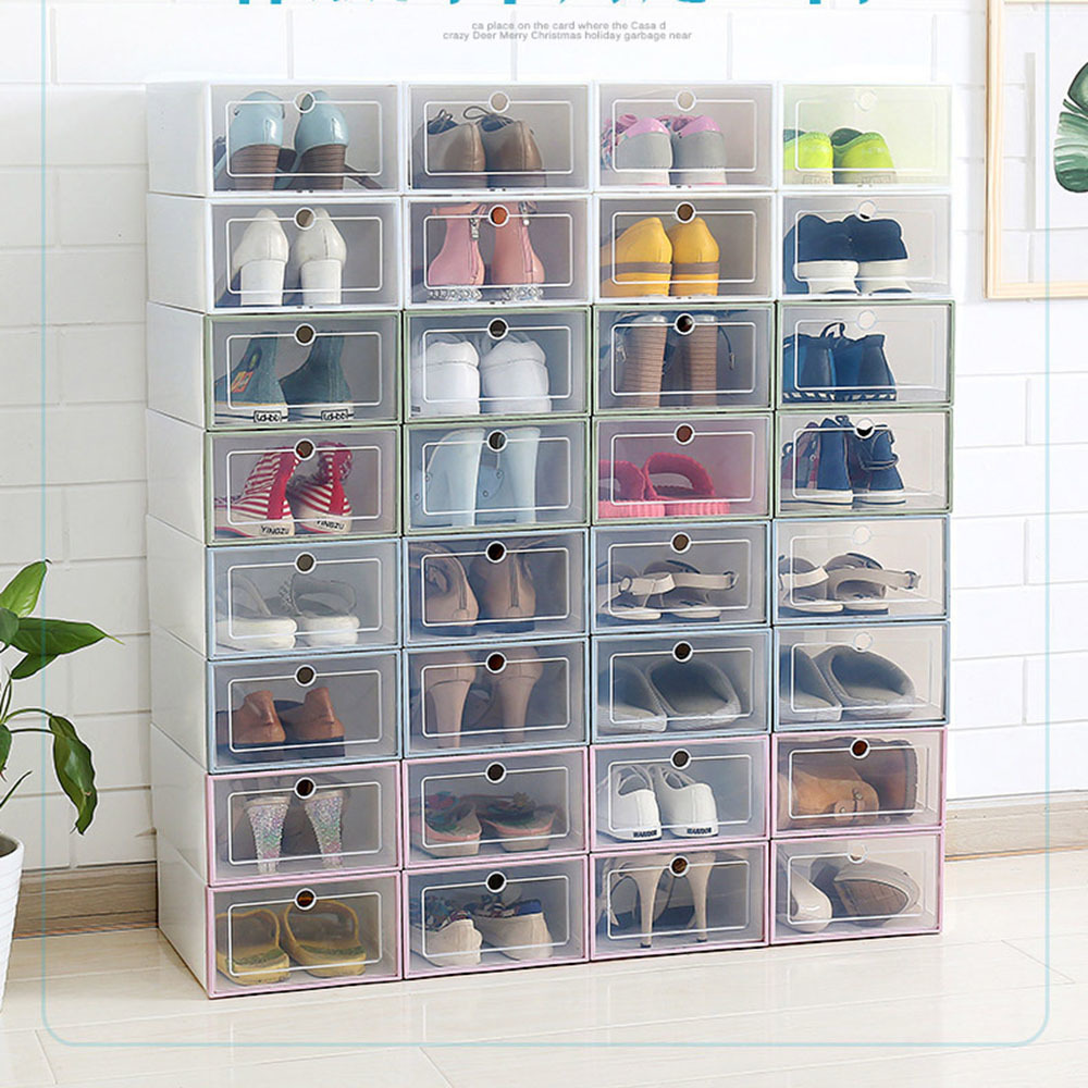 Two pieces Transparent Plastic Shoe Box Shoes Storage Artifact Shoe Storage Box Japanese Shoe Box Flip Drawer Box Organizer