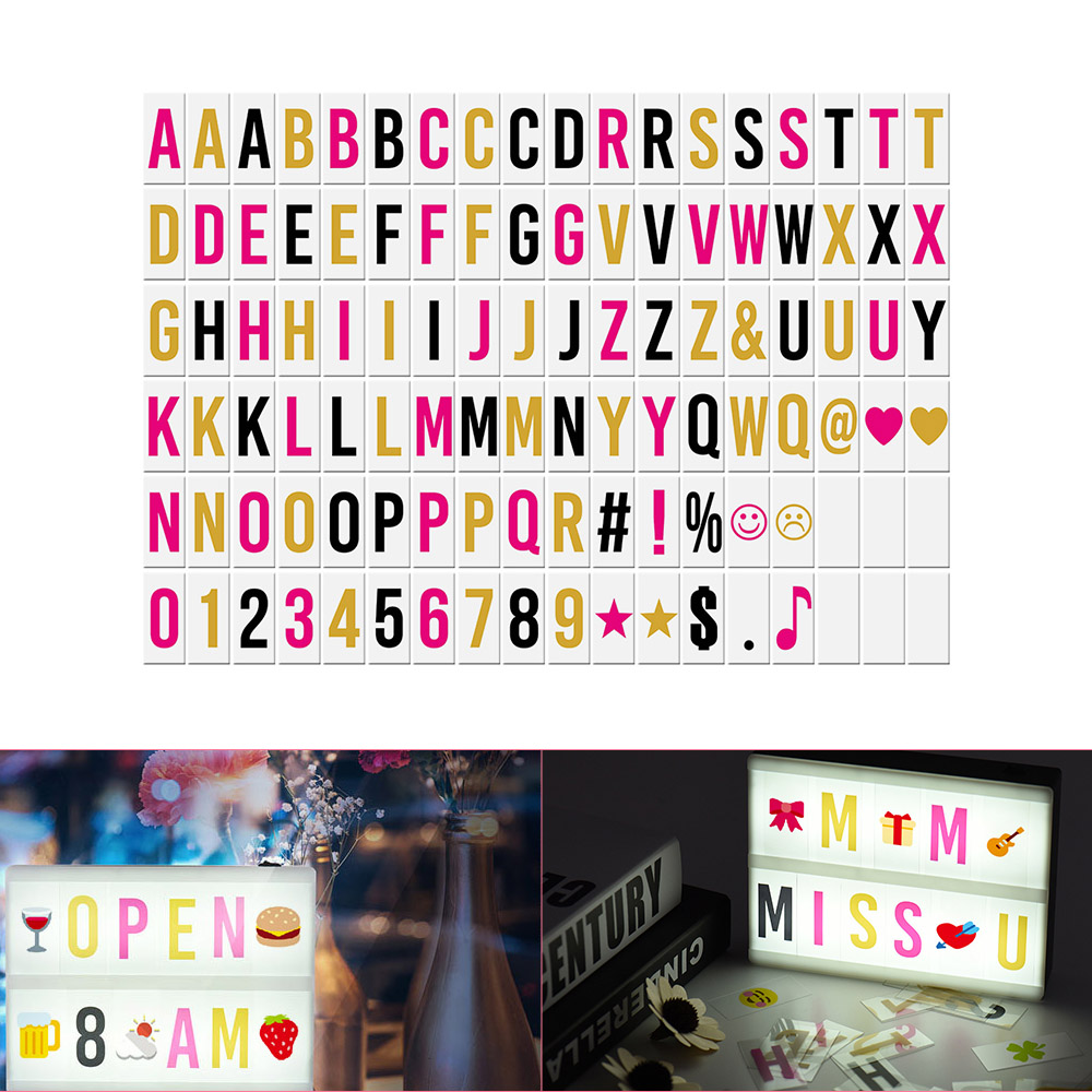 102pcs Interchangeable Letters Numbers Symbols Characters Cards Free Combination For DIY LED Cinema Light Box Message Board