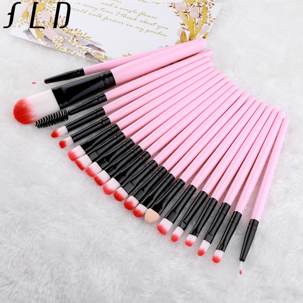 FLD 20 Pieces Makeup Brushes Set Eye Shadow Foundation Powder Eyeliner Eyelash Lip Make Up Brush Cosmetic Beauty Tool Kit 2