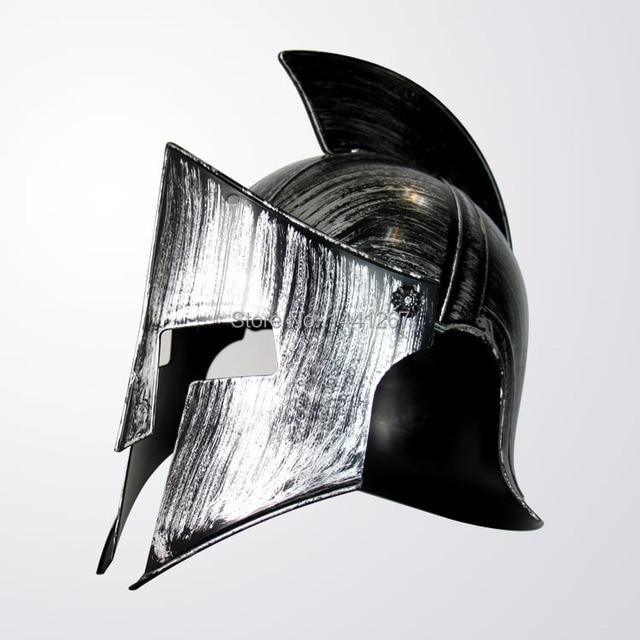 Halloween Adult Cosplay Props Ancient Rome Warrior Hero Plastic Silvery Spartan Helmet Toy Hot Selling