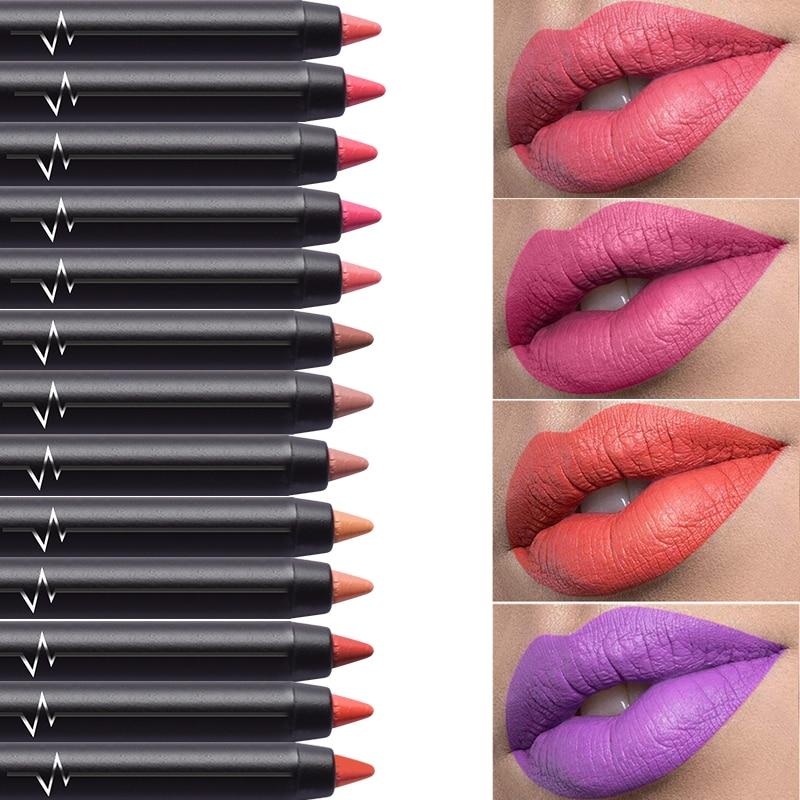 pudaier Brand Lip Liner Pencils Color Cosmetics for Women Long Lasting Pigment Black Velvet Matte Lipstick Pencil Makeup