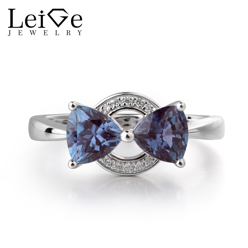 ace642534e Aliexpress.com : Buy Leige Jewelry Lab Created Alexandrite Color Changed  Two Stones 925 Sterling Silver June Birthstone Trillion Cut Engagement Ring  ...