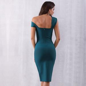 Image 5 - 2020 Summer Elegant Party Bodycon Bandage Dress Women Green Sleeveless One Shoulder Sexy Night Club Female Vestidos Clothing