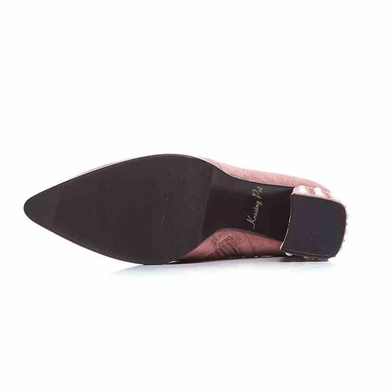 Krazing وعاء المخملية قطيع اللؤلؤ زائد حجم المسامير تمتد أحذية الكعب سميك وأشار اصبع القدم حزب نجم الشتاء منتصف العجل الأحذية L13-في أحذية منتصف ربلة الساق من أحذية على  مجموعة 2